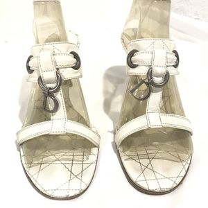 Christian Dior Quilted White Leather Kitten Sandal